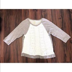 LUCKY BRAND Sweater XL 3/4 Sleeve Knit Shirt Grey